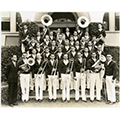 The Cal Poly                      Band in 1937 with director H.P. Davidson (on left)